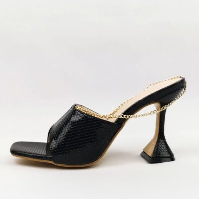 Black Anklet Square head Womens Peep Toe Mules