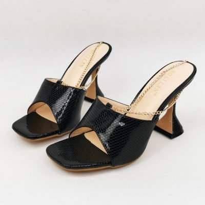 Black mules shoes for women