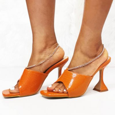 Orange Party mules for women