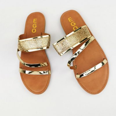Gold Flat Womens Slippers