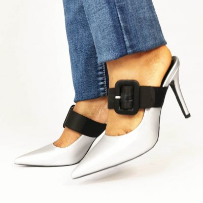 Silver party mules for women