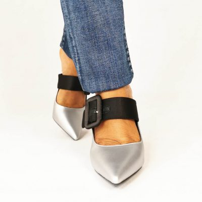 Silver mules for women