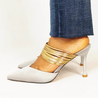 Gold Low heel Womens Party Mules