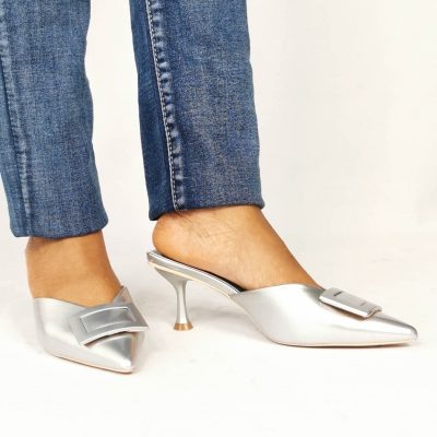 Sliver Low Heel Womens Party Mule