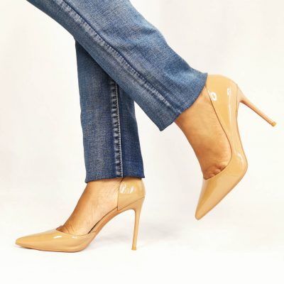 womens high heel patent court shoes