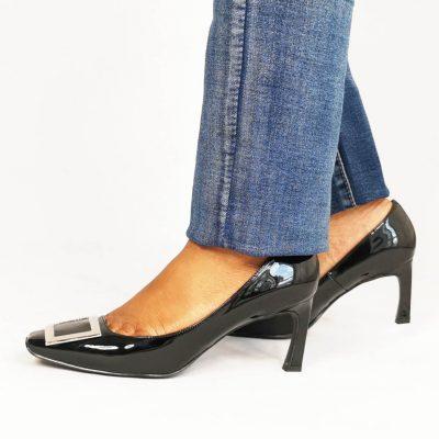 Patent Mid Heel Womens Work Shoe
