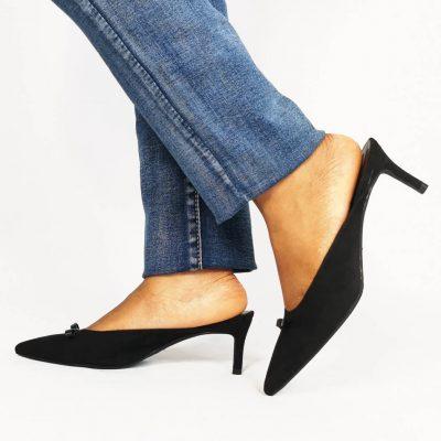 Black Pointed Suede Low Heel Womens Mule