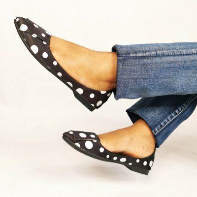 Black Polka Dot Boat shaped womens flats