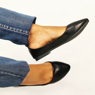 Black leather flat office shoes for women