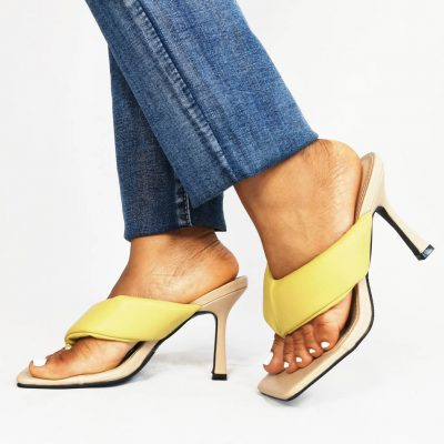 Yellow Party Womens Mules
