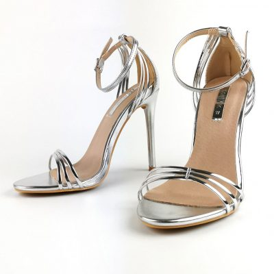 Silver Barely There Metallic Sandals - Sojoee.com