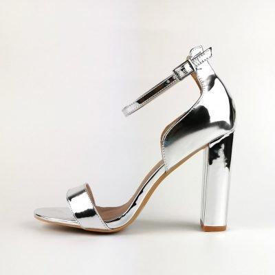 Silver Low Counter Block Heel Sandal - Sojoee.com
