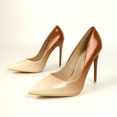 Beige Two Tone High Heel Court Shoe - Sojoee.com