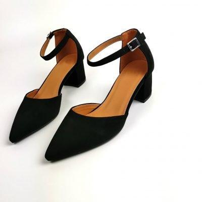 Low Block Heel Pointed Toe Sandals - Black