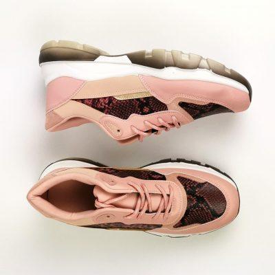 Rose Animal Print Mix Sneakers - Sojoee.com