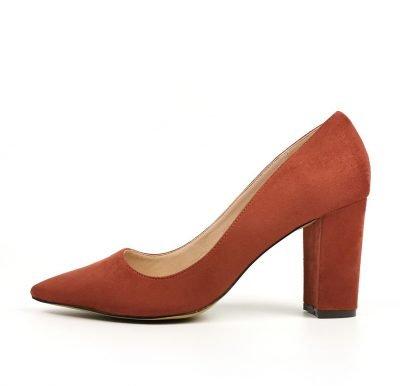Rust Suede Heel Block Court Heels – Sojoee.com