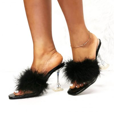 Black furry party mules heels for women
