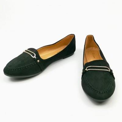 Black Flat suede women office shoe