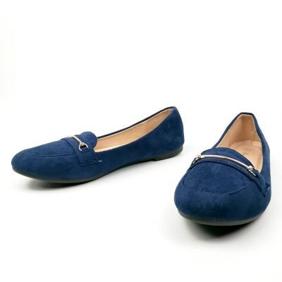Blue flat office shoes for women