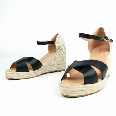 Black Espadrille Wedge Sandals - Sojoee.com