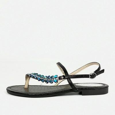 Black Flat womens sandals