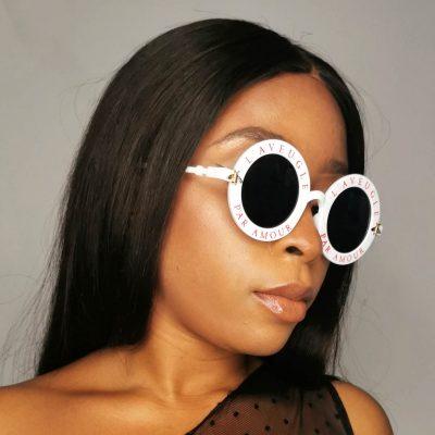 White Round Frame Plastic Fashion Sunglasses Eyewear for women