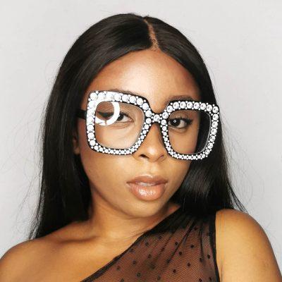 Transparent Studded Square frame women oversized sunglasses