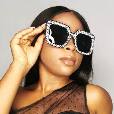 Black Studded Square frame women oversized sunglasses