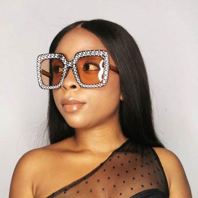 Brown Studded Square frame women oversized sunglasses
