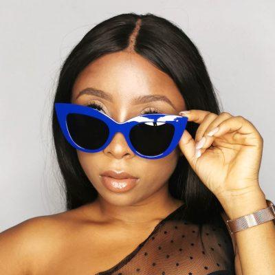 Blue Plastic Fashion Sunglasses Eyewear for women