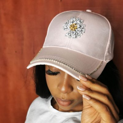 Light pink studded fashion face cap for wome