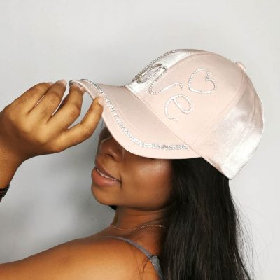 Light pink studded fashion womens face cap