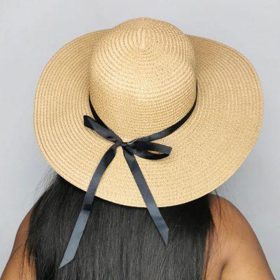Big brown straw sun beach hats for women