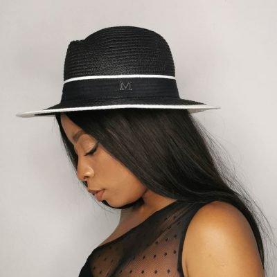 Black and white womens beach hat
