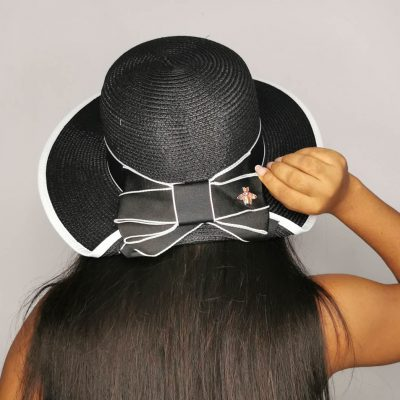 Black big rafia beach hats for women