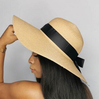 Brown big straw beach hats for women
