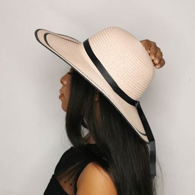 Baby Pink Oversized Beach Hats For Women Large Straw Hat