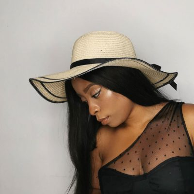 Milky White Oversized Beach Hats For Women Large Straw Hat