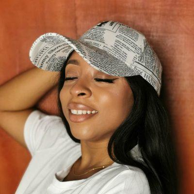 White stylish print fashion face cap for women