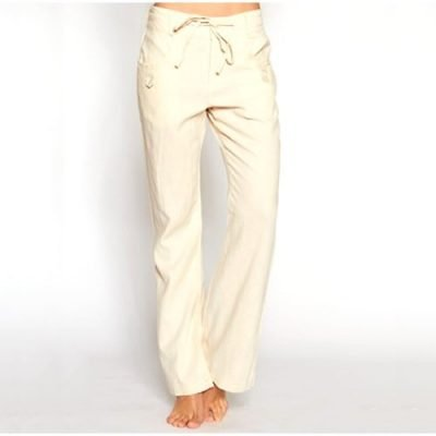 Flared Linen Pants with Side Buttons