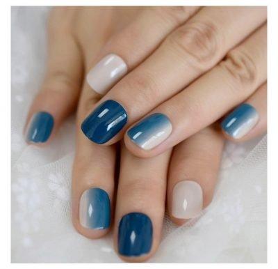 Short Blue Gradient Press on Nails