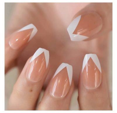 Nude White V design Medium Press on nails