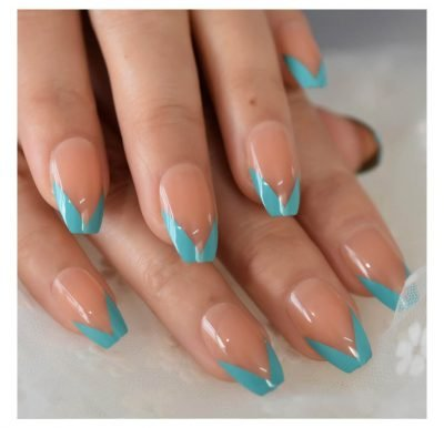 Nude Teal V design Medium Press on nails