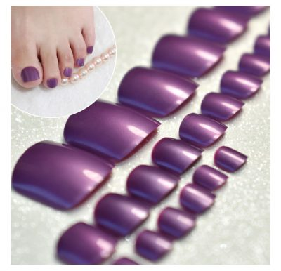 Shimmer Glossy Purple Acrylic Nails Tips for Toenails