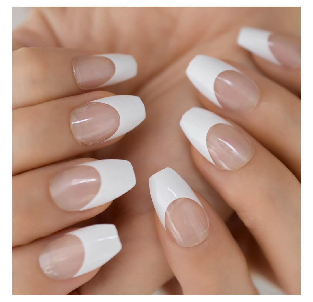 Transparent and White Medium Press On Nails