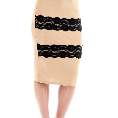 Lace Detailed Midi Pencil Skirt