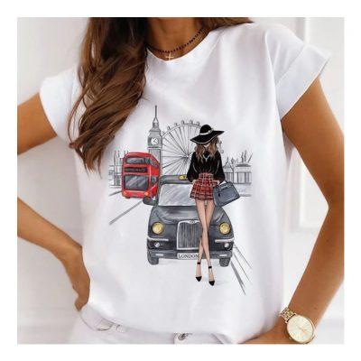 Womens White Casual Print Tshirt