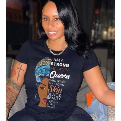 Melanin Print Womens Casual Tshirt