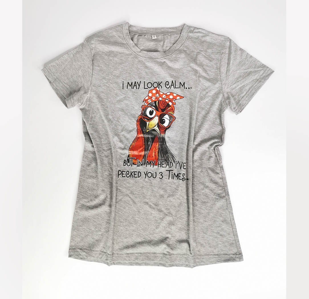 Womens Gray Text Print Tshirt