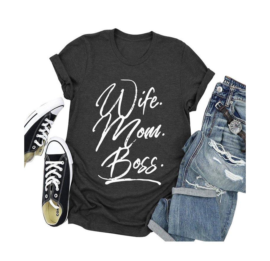 Wife mom boss letter print short-sleeved t-shirt
